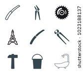 steel icons. set of 9 editable... | Shutterstock .eps vector #1023188137