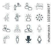 manager icons. set of 16... | Shutterstock .eps vector #1023188197