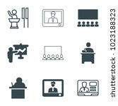 lecture icons. set of 9... | Shutterstock .eps vector #1023188323