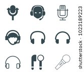 microphone icons. set of 9... | Shutterstock .eps vector #1023189223
