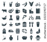 food icons. set of 36 editable... | Shutterstock .eps vector #1023190717