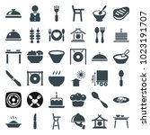 plate icons. set of 36 editable ... | Shutterstock .eps vector #1023191707