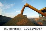combine harvester unloaded corn ...   Shutterstock . vector #1023198067