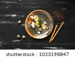 bruschetta with cream cheese ... | Shutterstock . vector #1023198847