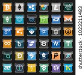 black rounded square icons with ...   Shutterstock .eps vector #1023211483