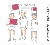 boy and girl holding national... | Shutterstock .eps vector #1023213733