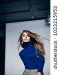portrait of beautiful blond... | Shutterstock . vector #1023215953