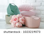 home organizers colored baskets ... | Shutterstock . vector #1023219073