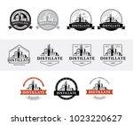 set of distillery production... | Shutterstock .eps vector #1023220627