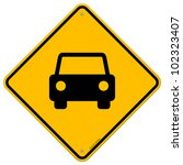 yellow sign with car | Shutterstock .eps vector #102323407