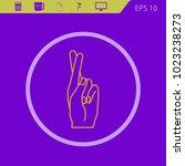 hand showing fingers crossed.... | Shutterstock .eps vector #1023238273