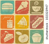 set of Vintage Food Labels - Retro Signs with Grunge Effect - vector illustration - stock vector