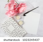 calligraphy flatlay with... | Shutterstock . vector #1023245437