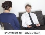 Businessman at psychoanalysis - stock photo