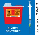 sharp container medical | Shutterstock .eps vector #1023247627