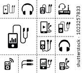 headphones icons. set of 13... | Shutterstock .eps vector #1023257833