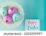 top view of easter  decorated...   Shutterstock . vector #1023259597