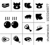 ham icons. set of 13 editable... | Shutterstock .eps vector #1023260077