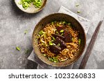 japanese noodle with beef and... | Shutterstock . vector #1023260833