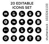 safe icons. set of 20 editable... | Shutterstock .eps vector #1023261133