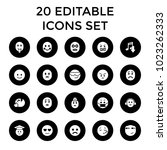 emoticon icons. set of 20... | Shutterstock .eps vector #1023262333