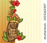tiki mask with leaves and fire... | Shutterstock .eps vector #1023262507