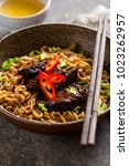 japanese noodle with beef and... | Shutterstock . vector #1023262957