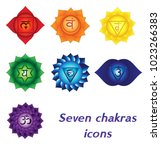 seven chakras icons. colorful... | Shutterstock .eps vector #1023266383