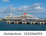 luxury cruiser in harbor with a ...   Shutterstock . vector #1023266953