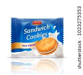sandwich cookies with delicious ... | Shutterstock . vector #1023275353