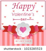 pink gift of valentine's day... | Shutterstock .eps vector #1023285523