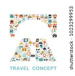 travel icons are grouped in... | Shutterstock .eps vector #1023299953