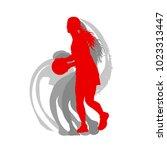 basketball female silhouette... | Shutterstock .eps vector #1023313447