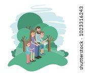 family members in the field | Shutterstock .eps vector #1023316243