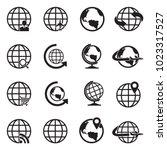 globe icons. black flat design. ...