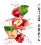 sweet cherry in juice splash...   Shutterstock . vector #1023322543