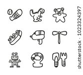 icons hand drawn toys. vector... | Shutterstock .eps vector #1023324397