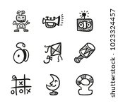 icons hand drawn toys. vector... | Shutterstock .eps vector #1023324457