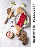 piece of beetroot marinated...   Shutterstock . vector #1023329887