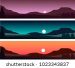 vector set of evening and night ...   Shutterstock .eps vector #1023343837
