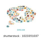 travel icons are grouped in... | Shutterstock .eps vector #1023351037