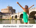 rome travel tourist girl happy... | Shutterstock . vector #1023361267