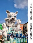 Small photo of CANTU - ITALY - February 11, 2018: Allegorical float of traditional carnival. Lisandrin mask. Carnival of COMO LAKE