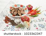 romanian traditional plate with ... | Shutterstock . vector #1023362347