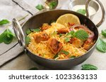 homemade chicken tikka biryani... | Shutterstock . vector #1023363133