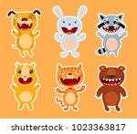 cute flat animals. dog  rabbit  ... | Shutterstock .eps vector #1023363817