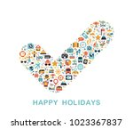travel icons are grouped in... | Shutterstock .eps vector #1023367837