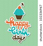 cute happy birthday card with... | Shutterstock .eps vector #102336967
