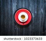 top view of a wood table full... | Shutterstock . vector #1023373633