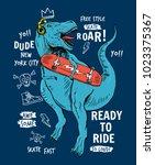 skater dinosaur vector... | Shutterstock .eps vector #1023375367
